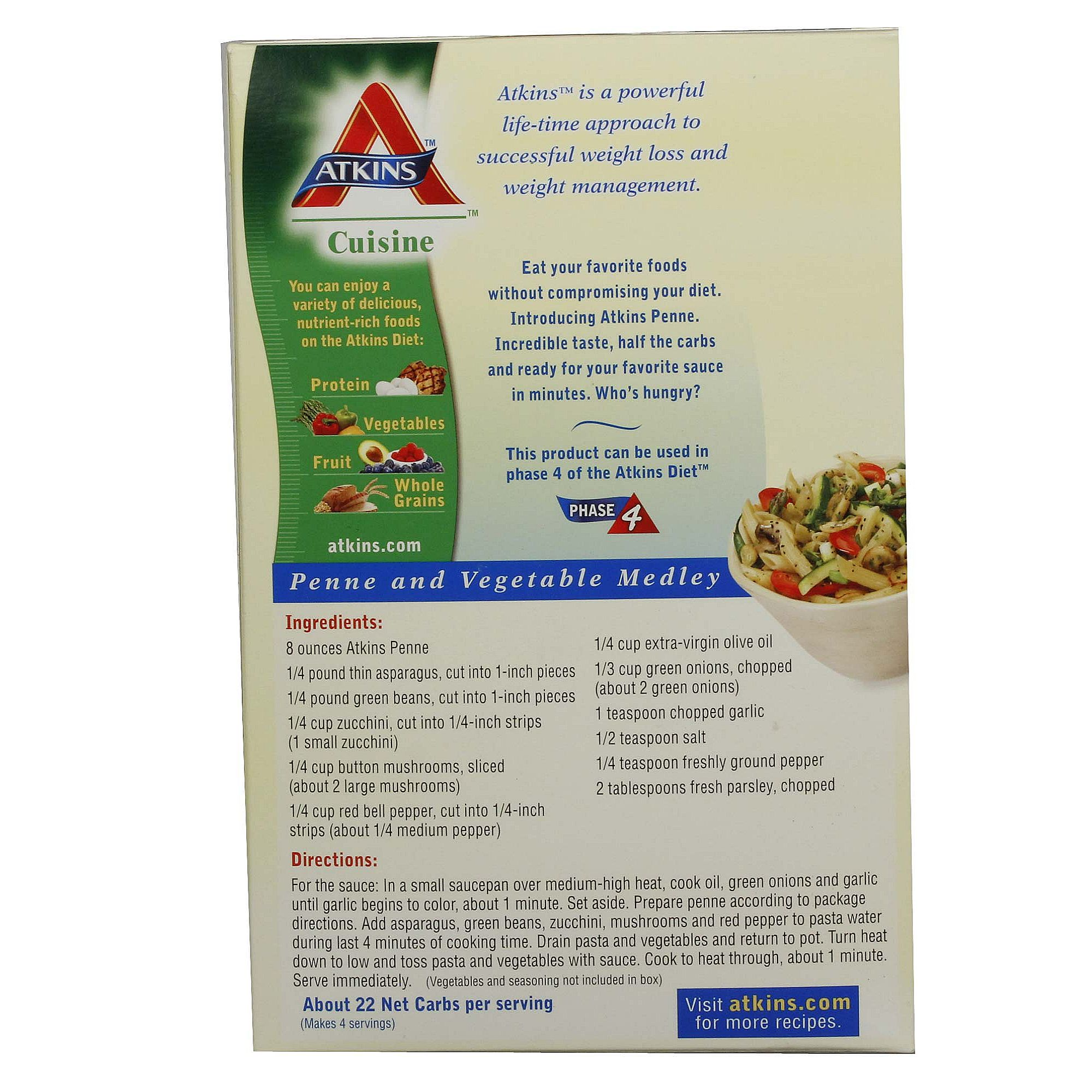 Atkins penne pasta 12 pack 12 12 oz boxes for Atkins cuisine penne pasta 12 oz 340 g