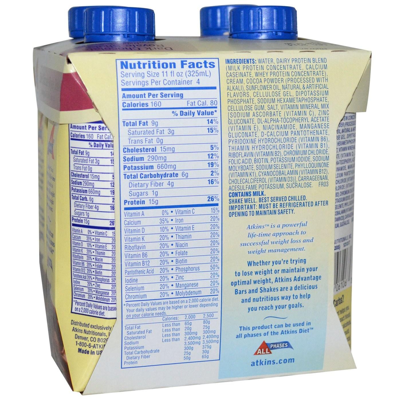 Atkins Advantage Shake, Milk Chocolate Delight - 4 Shakes ...
