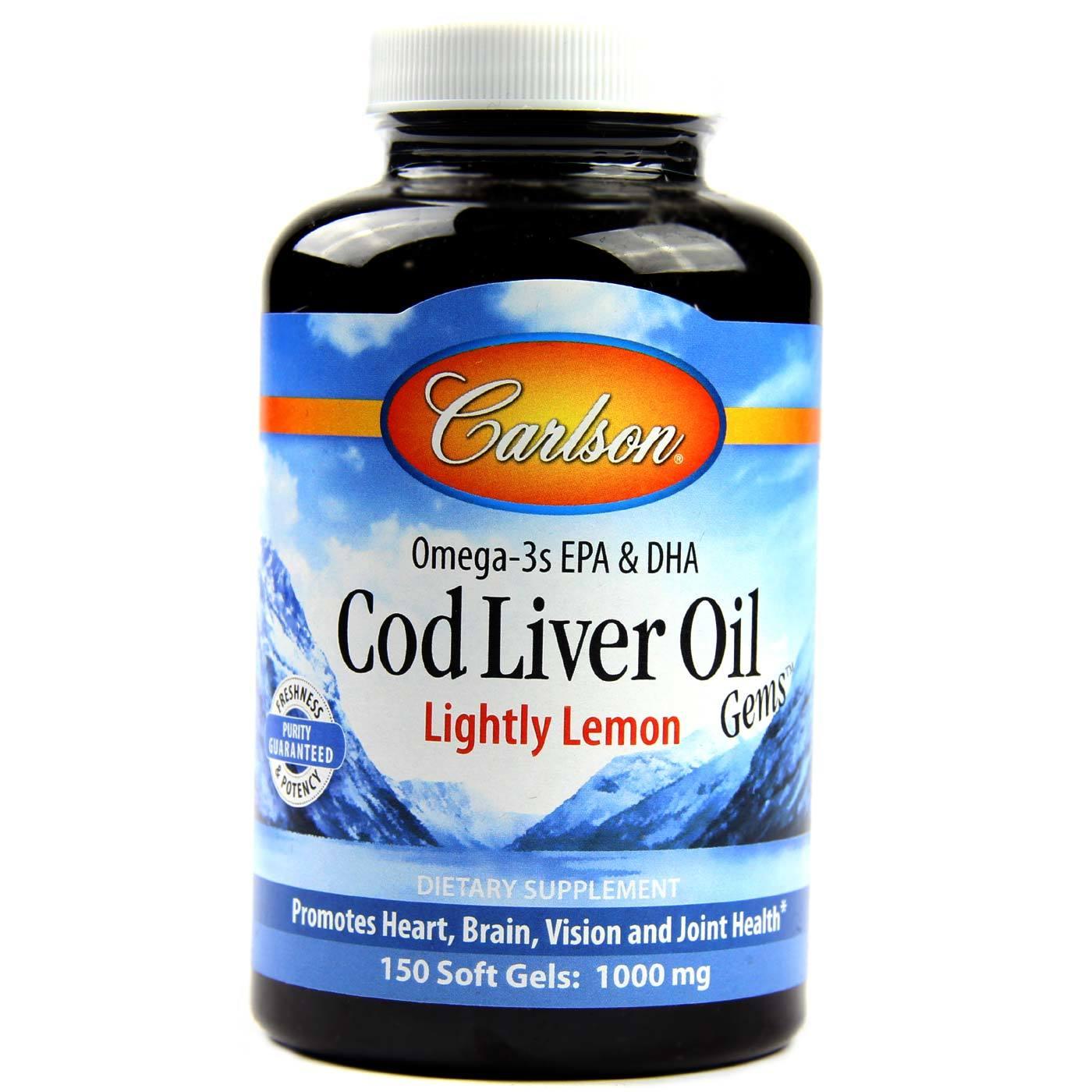 Carlson labs cod liver oil lemon 1 000 mg 150 for Carlson s fish oil lemon