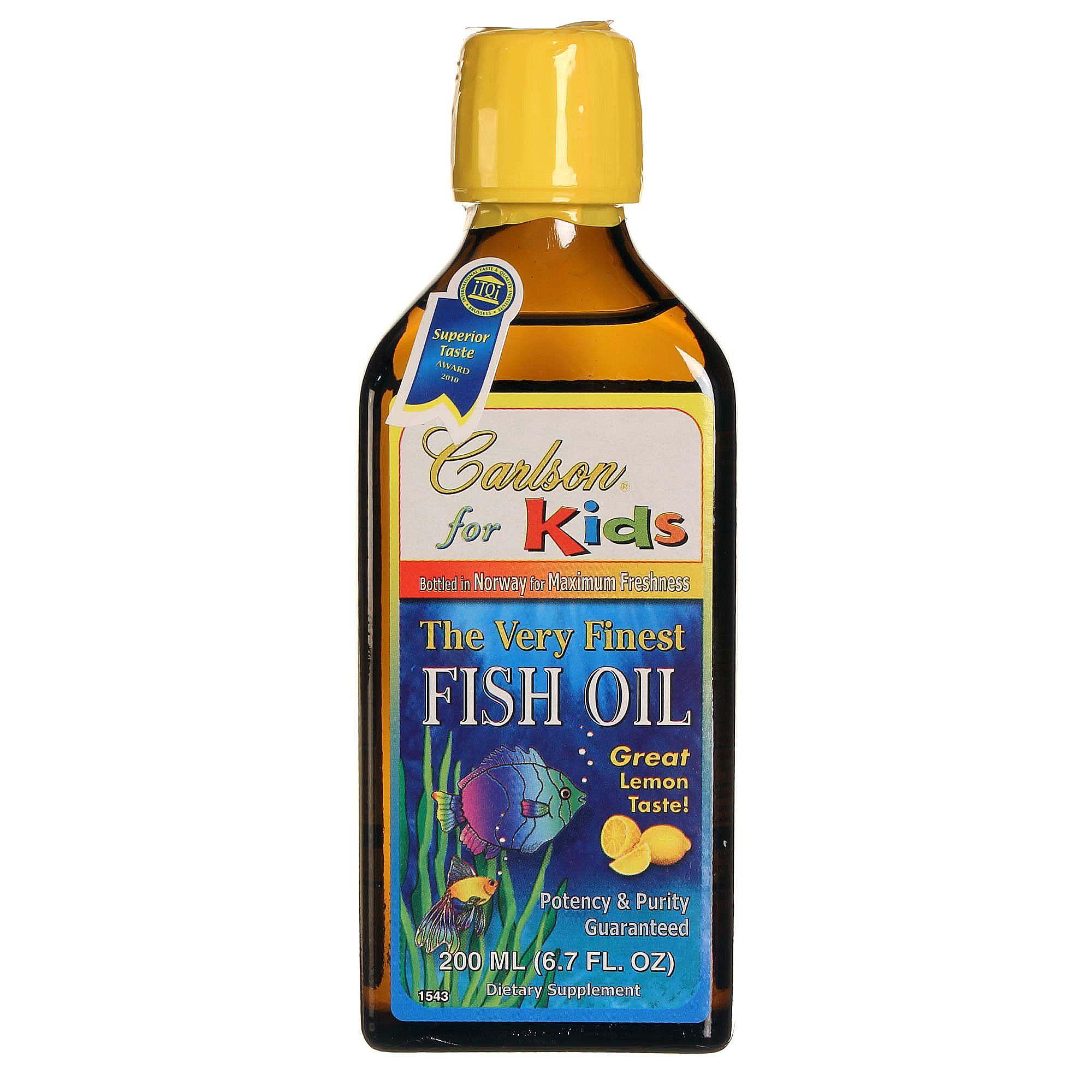 Carlson labs very finest fish oil for kids lemon 200 ml for Kids fish oil
