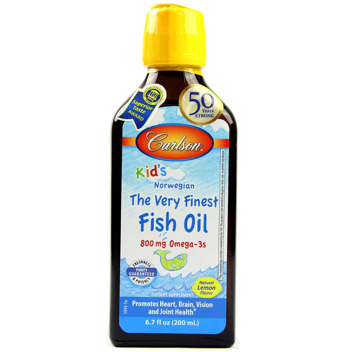 Carlson labs very finest fish oil for kids lemon 200 ml for Carlsons fish oil