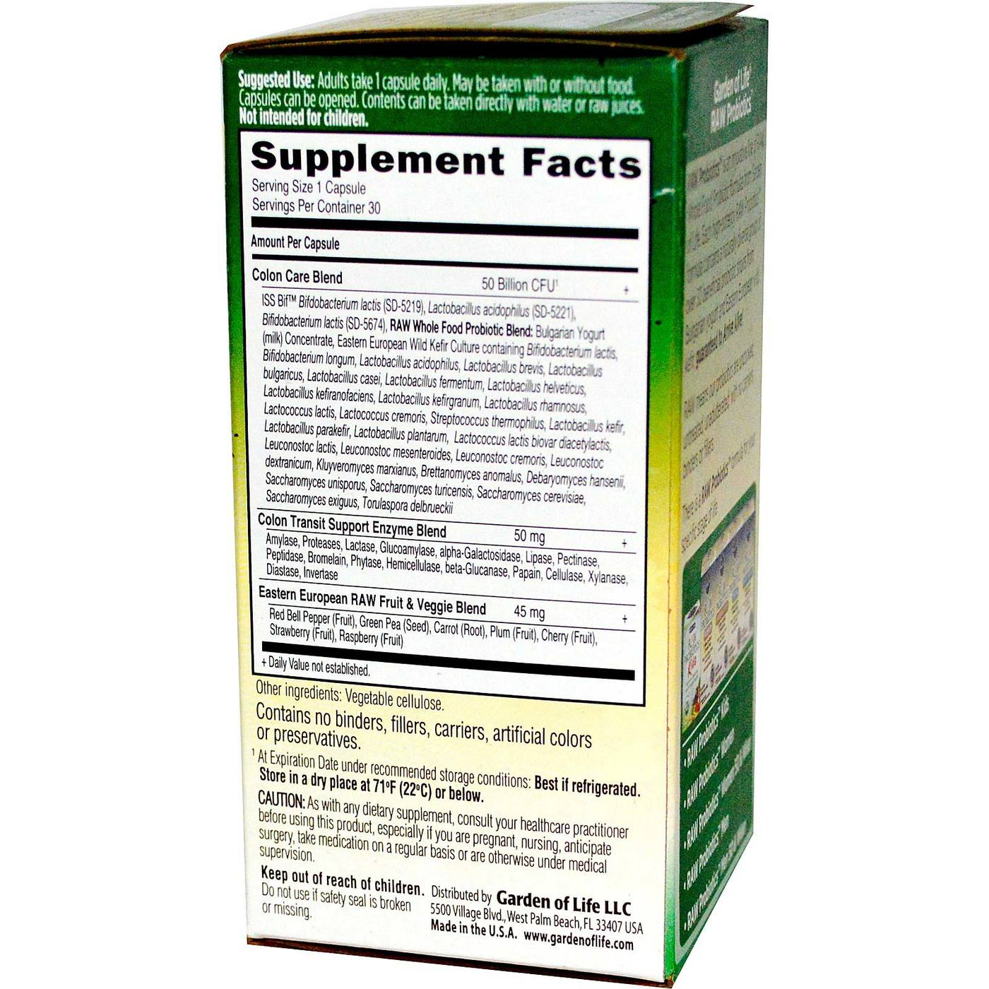 Garden Of Life Raw Probiotics Colon Care 30 Vcapsules