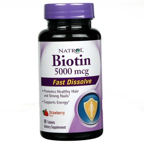 Natrol Biotin, Strawberry - 5000 mcg - 90 Tablets