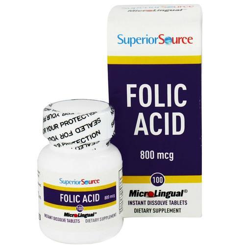 Купить Superior Source Folic Acid - 800 mcg - 100 таблеток - eVitamins Россия