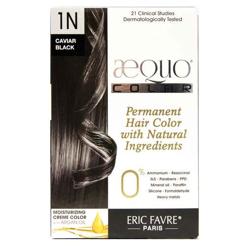 AEQUO Color Cream Natural Hair Color Black - 1N Caviar - One Application