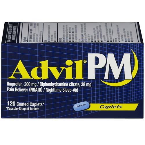 Advil PM Pain Reliever and Nighttime Sleep-Aid  - 120 Coated Caplets