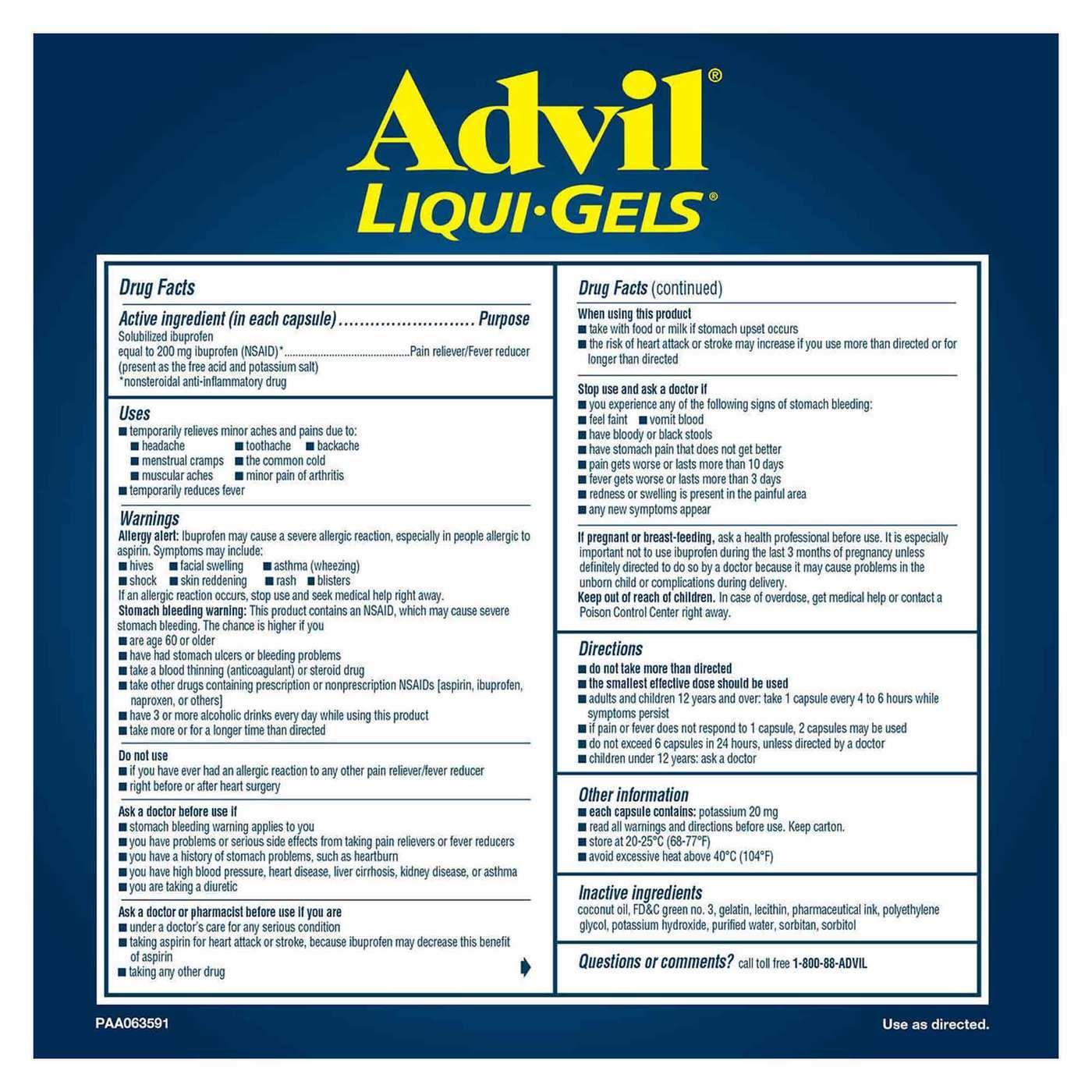 Advil Liqui-Gels Ibuprofen - 2 x 120
