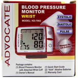 Advocate Wrist Blood Pressure Monitor with Color Indicator