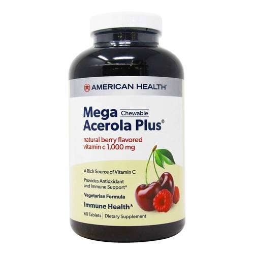 American Health Mega Acerola Plus + Vitamins C 1000 mg  - 60 Chewable Wafers - 3166_front2020.jpg
