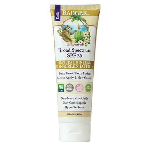 Badger Zinc Oxide Sunscreen Lotion SPF 25 Unscented 118 ml - 350900_front.jpg