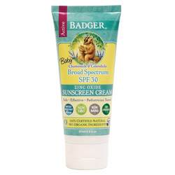 Badger Baby Sunscreen Cream - Chamomile  Calendula- Broad Spectrum SPF 30