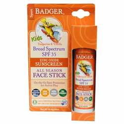Badger Kids Zinc Oxide Sunscreen All Season Face Stick- SPF 35- Tangerine  Vanilla