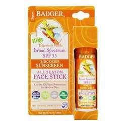 Badger Kids Zinc Oxide Sunscreen All Season Face Stick- SPF 35- Tangerine  Vanilla