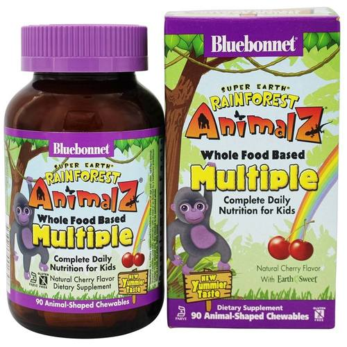 Bluebonnet Nutrition Super Earth Rainforest Animalz Whole Food Based Multiple, cereja - 90 Chewables - 116540_a.jpg