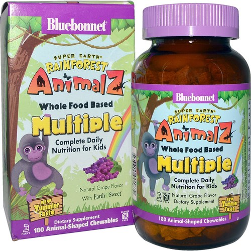 Bluebonnet Nutrition Super Earth Rainforest Animalz Whole Food Based Multiple, Uva - 180 Chewables - 116543_a.jpg