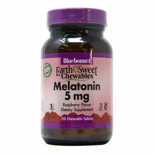 Bluebonnet Nutrition Melatonina EarthSweet sabor Frambuesa - 5 mg - 120 Tabletas Masticables - 116928_front2020.jpg