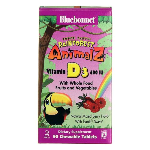 Bluebonnet Nutrition Super Earth Rainforest Animalz Vitamin D3 - 400 IU - 90 Chewables - 20130124_116.jpg