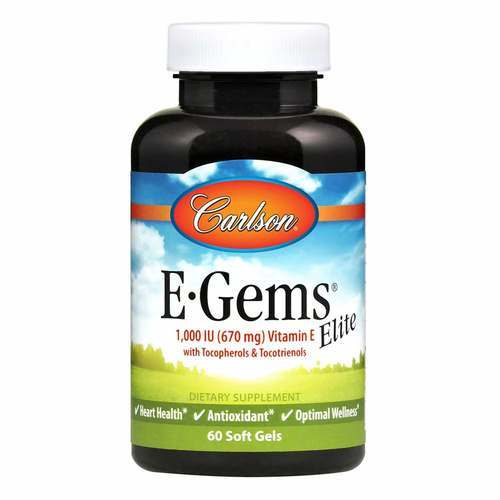 Carlson Labs E-Gems Elite  - 1,000 IU - 60 Softgels - 103701_front2020.jpg