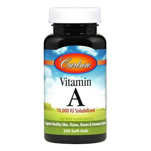 Carlson Labs Vitamin A  - 10,000 IU Solubilized - 250 Softgels - 103718_front2020.jpg