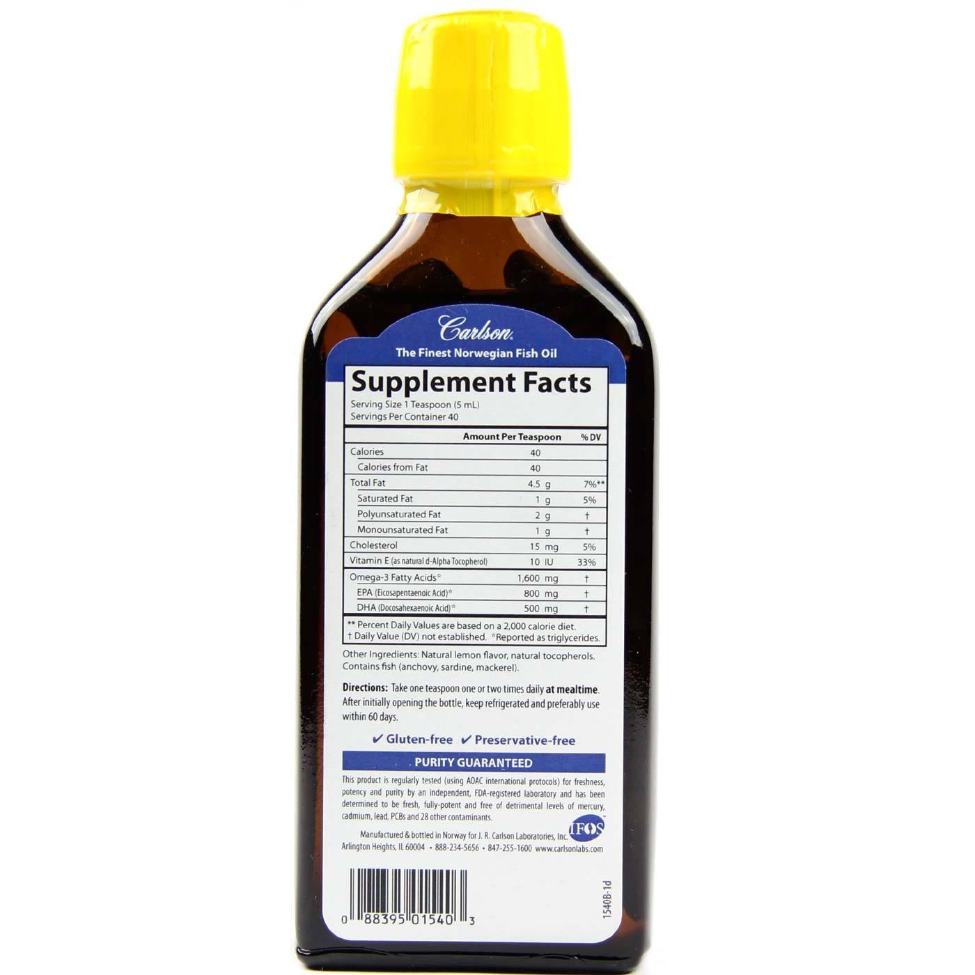 Buy Carlson Labs Very Finest Fish Oil, Lemon - 200 ml - eVitamins ...