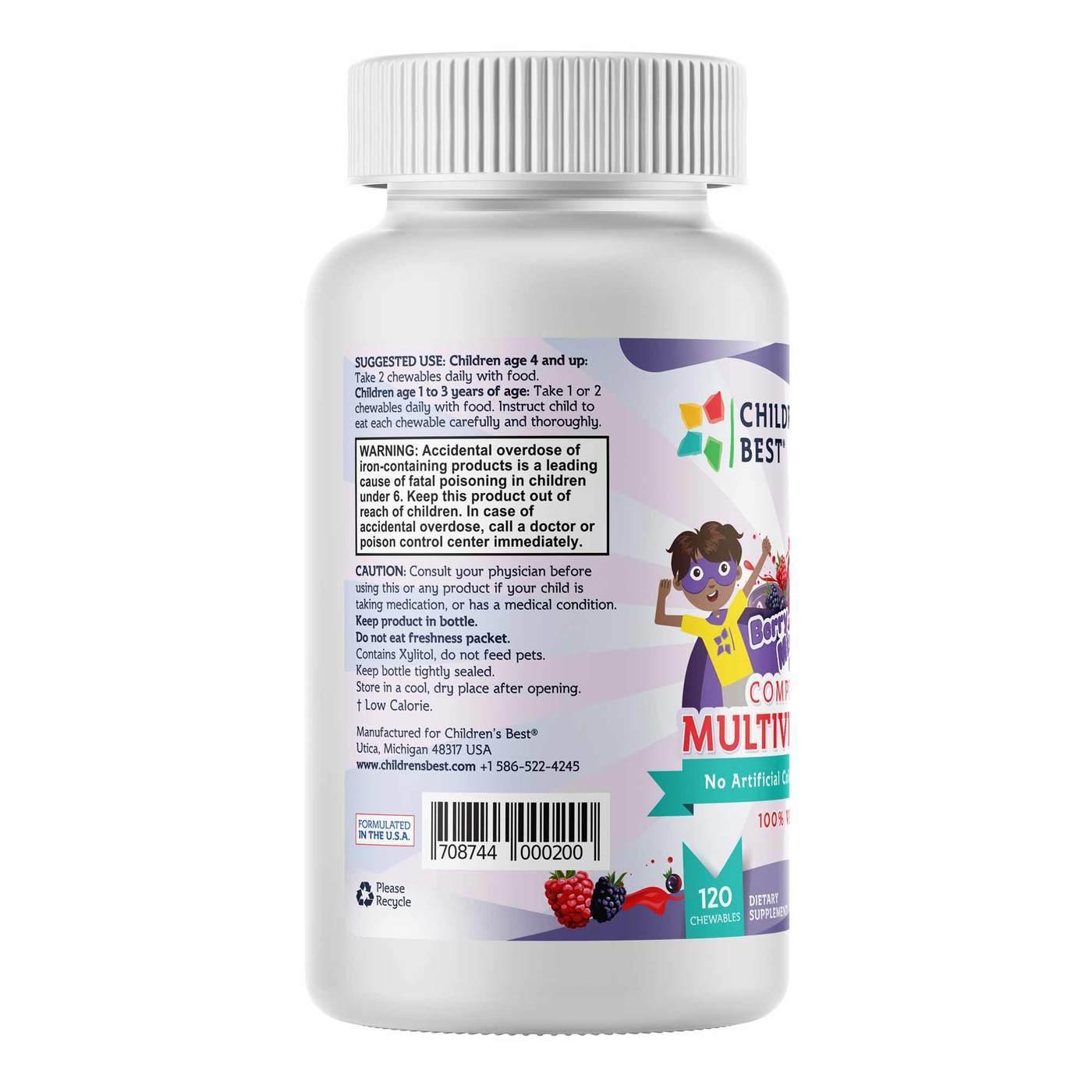 Children S Best Complete Sugar Free Multivitamin For Kids Non Gmo Vegan Based Berry Burst 120 Chewables Evitamins Com