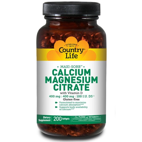Country Life Cal-Mag Citrate wVitamin D  - 200 Softgels - 6114.jpg