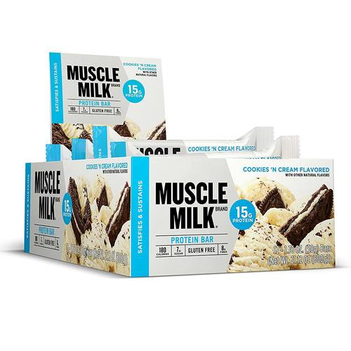 CytoSport Muscle Milk Protein Blue Series Bars Cookies & Cream - 12 bars