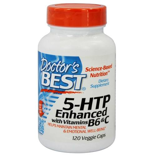 Doctor's Best 5-HTP Enhanced with Vitamin B6 and C  - 100 mg - 120 Veggie Capsules - 55009_01.jpg