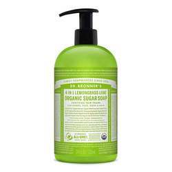 Dr. Bronner's Organic Lemongrass Lime Sugar Soap 4-in-1 Organic Pump Soap for Home and Body