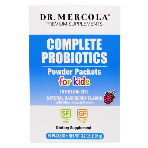 Dr. Mercola Complete Probiotics Powder Packets for Kids (10 Billion CFU)  - Natural Raspberry Flavor, 30 Packet - 349205_front.jpg