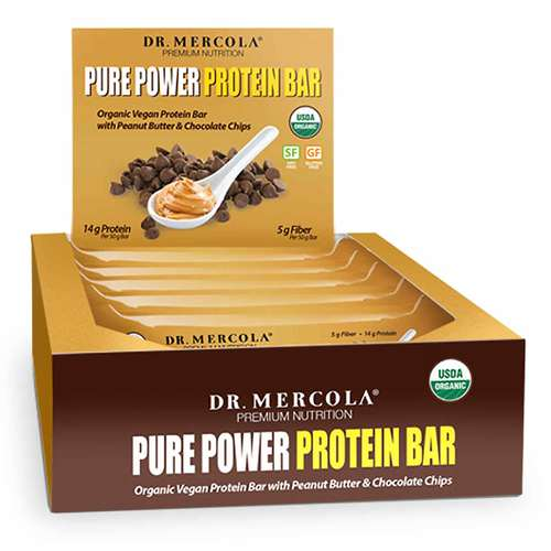 Dr Mercola Pure Power Peanut Butter Protein Bars 1 Box (12 Bars) - 349285_front.jpg