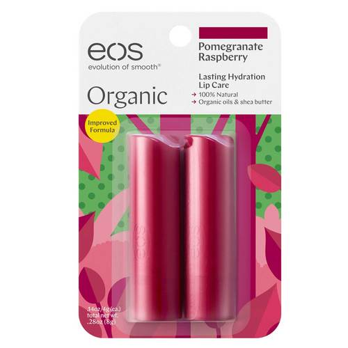 EOS Organic Stick Lip Balm Raspberry Pomegranate  - 2 Pack - 350957_front.jpg