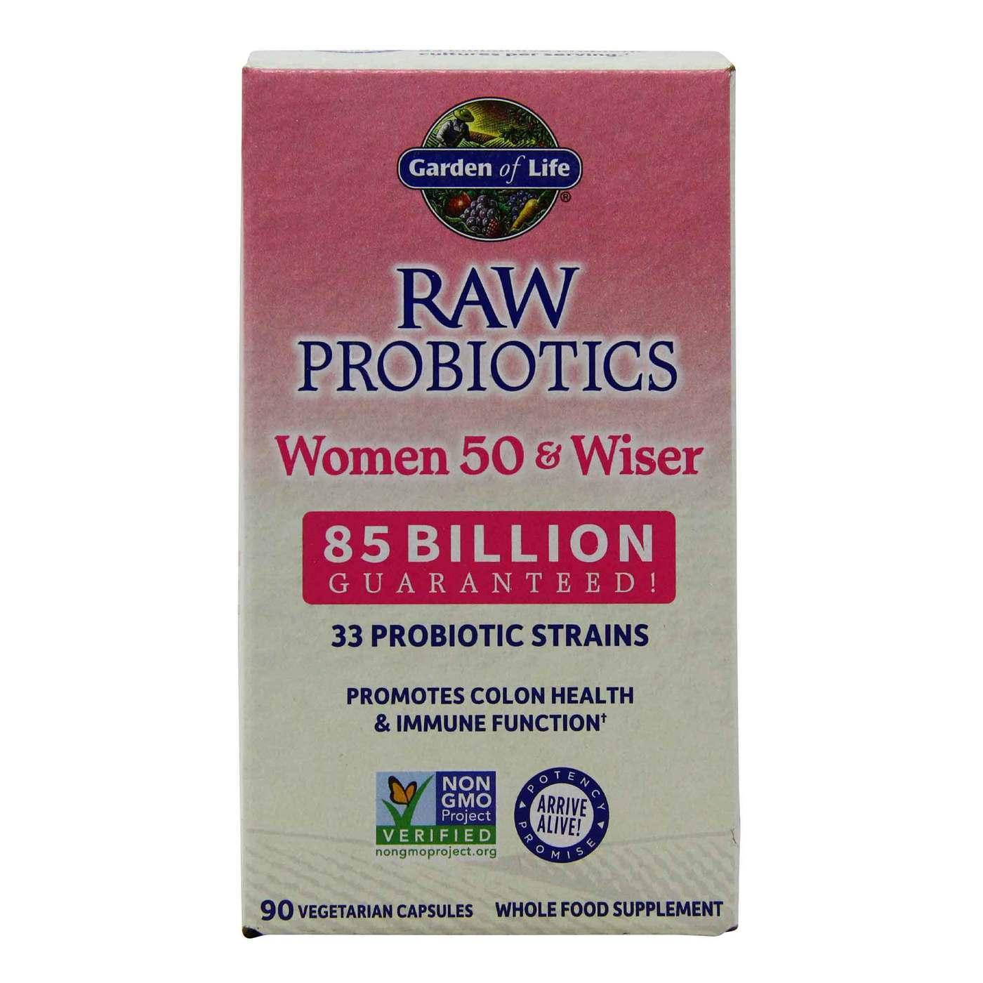 Garden Of Life Raw Probiotics Women 50 And Wiser 90 Vegetarian Capsules Evitamins Com