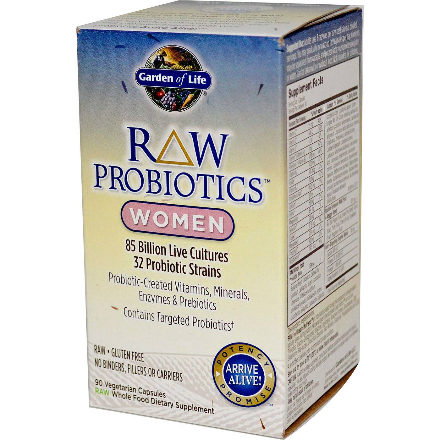 garden of life raw probiotics women 90 vcapsules evitamins