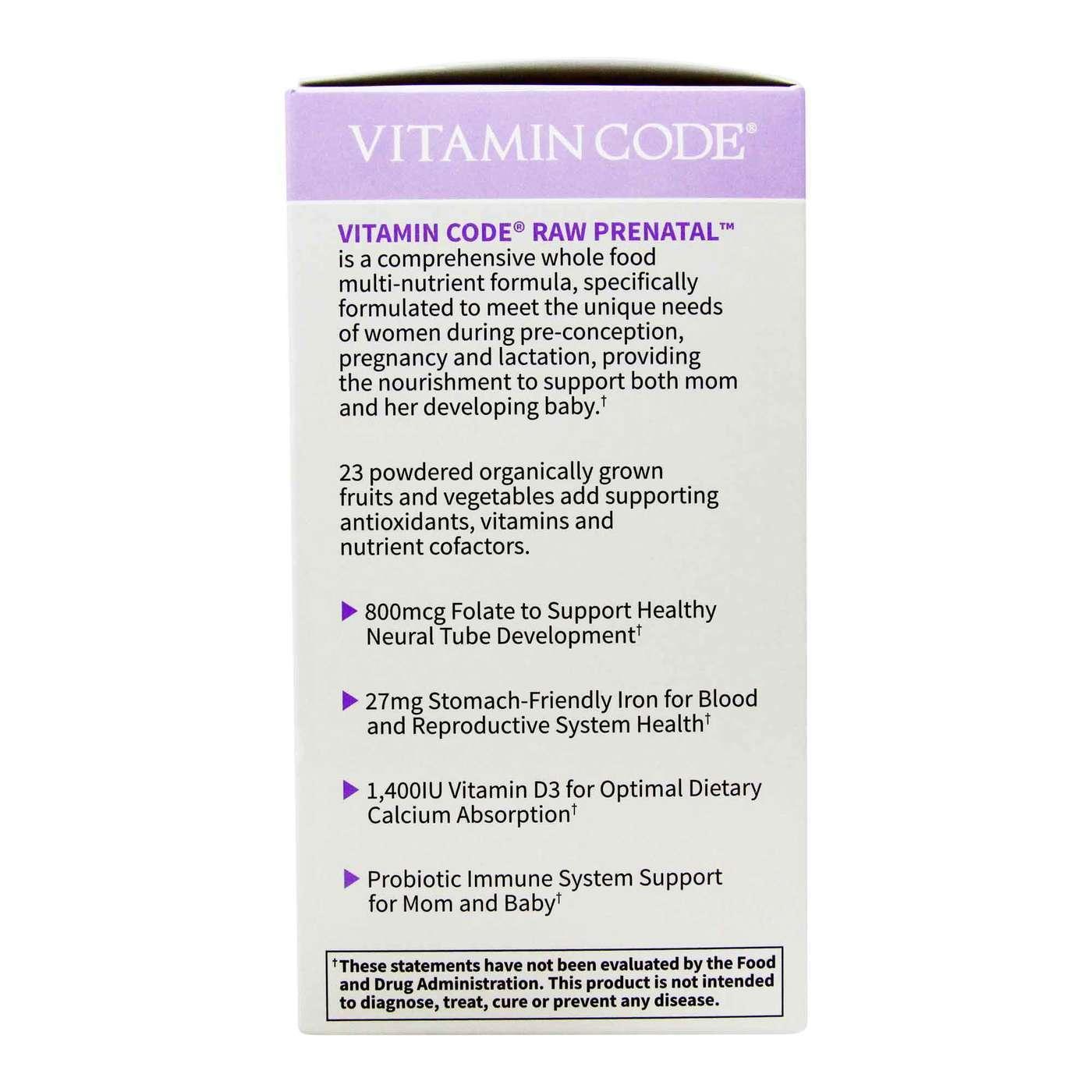 Garden Of Life Vitamin Code Raw Prenatal 180 Vegetarian Capsules Evitamins Com