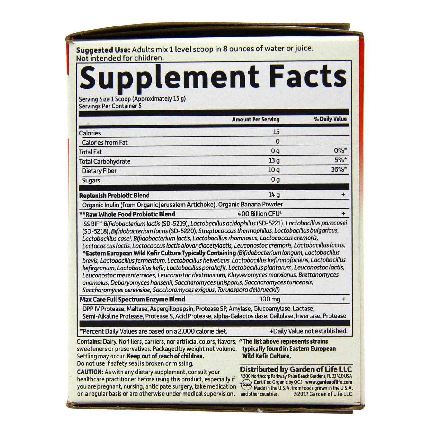 Garden Of Life Raw Probiotics 5 Day Max Care 5 Scoops Evitamins Uk