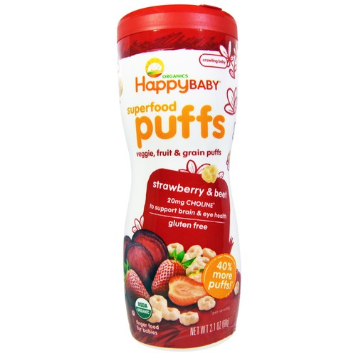 Happy Baby Happy Puffs Strawberry - 6 - 2.1 oz Cans - 27543_01.jpg