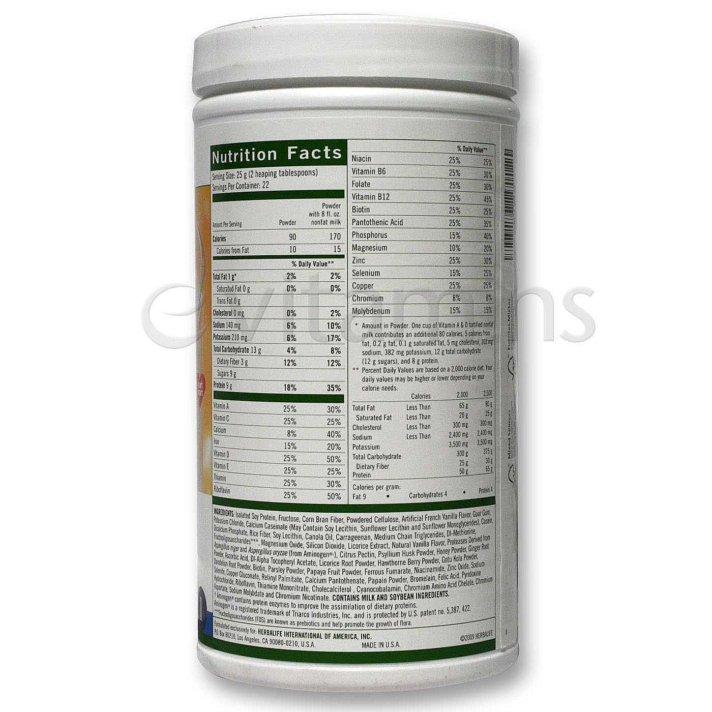 herbalife formula 1 innehållsförteckning