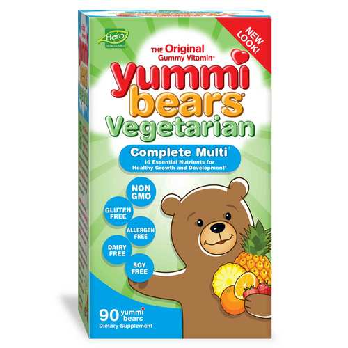 Hero Nutritionals Yummi Bears Children's Complete Multi-Vitamin Vegetarian - 90 Gummy Bears - 35309_front.jpg