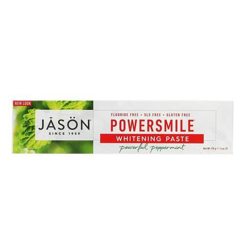 Jason Natural Cosmetics PowerSmile Toothpaste Whitening Paste Powerful Peppermint Menta - 6 oz (170 g) - 5448_front2020.jpg