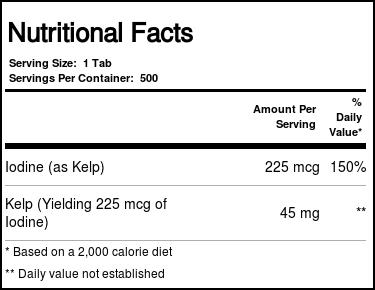 Kal Kelp - 225 mcg Iodine - 500 Tablets