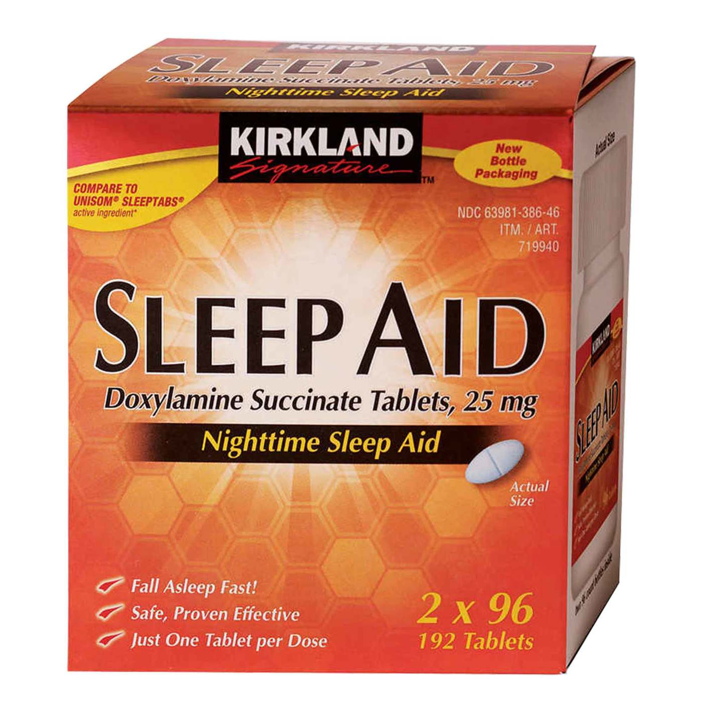sleep kirkland aid signature sleeping tablets nighttime pills mg australia doxylamine succinate evitamins caplets sign does