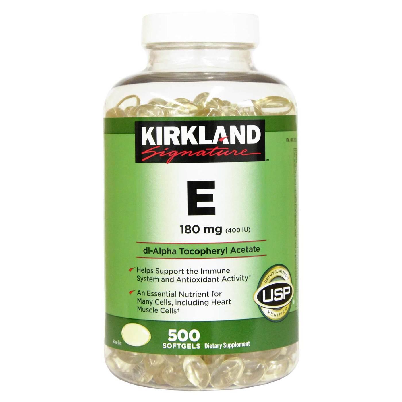 Kirkland Signature E 180 Mg 400iu 500 Softgels Evitamins Com