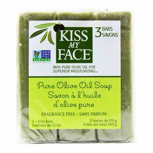 Kiss My Face Fragrance Free Pure Olive Oil Soap - 3 - 4 oz Bars - 53230_front.jpg