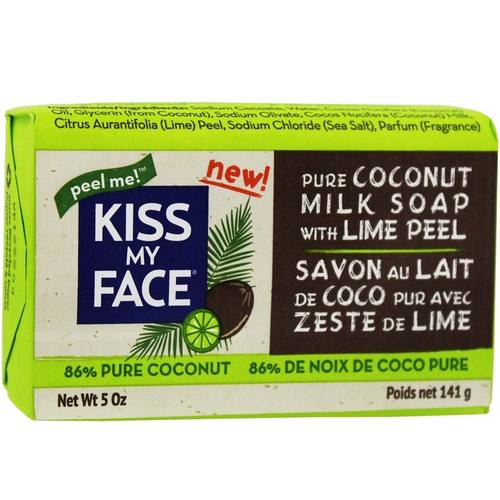 Coconut Milk Bar Soap with Lime Peel