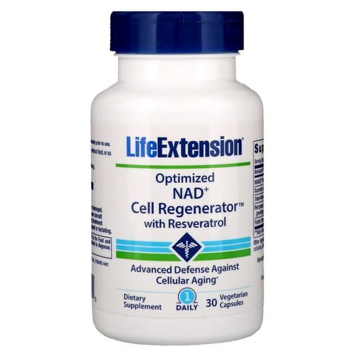 Life Extension Optimized NAD+ Cell Regenerator with Resveratrol  - 30 Vegetarian Capsules - 275665_front.jpg