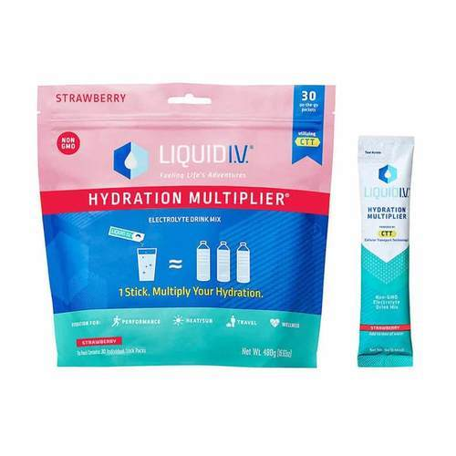 Liquid IV Hydration Multiplier Electrolyte Drink Mix Strawberry - 30 Individual Stick Packs - 354669_front_strawberry.jpg