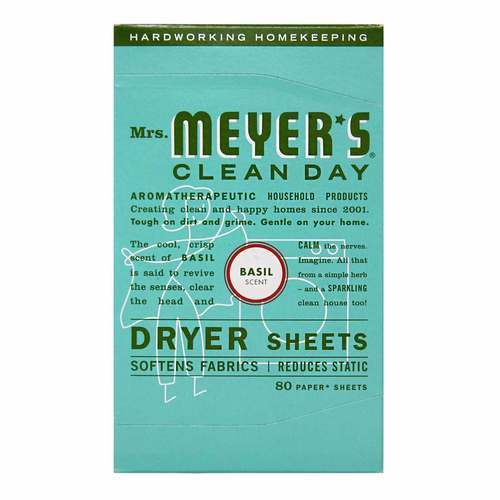 Mrs. Meyers Clean Day Dryer Sheets Basil - 80 Sheets - 65741_front2020.jpg