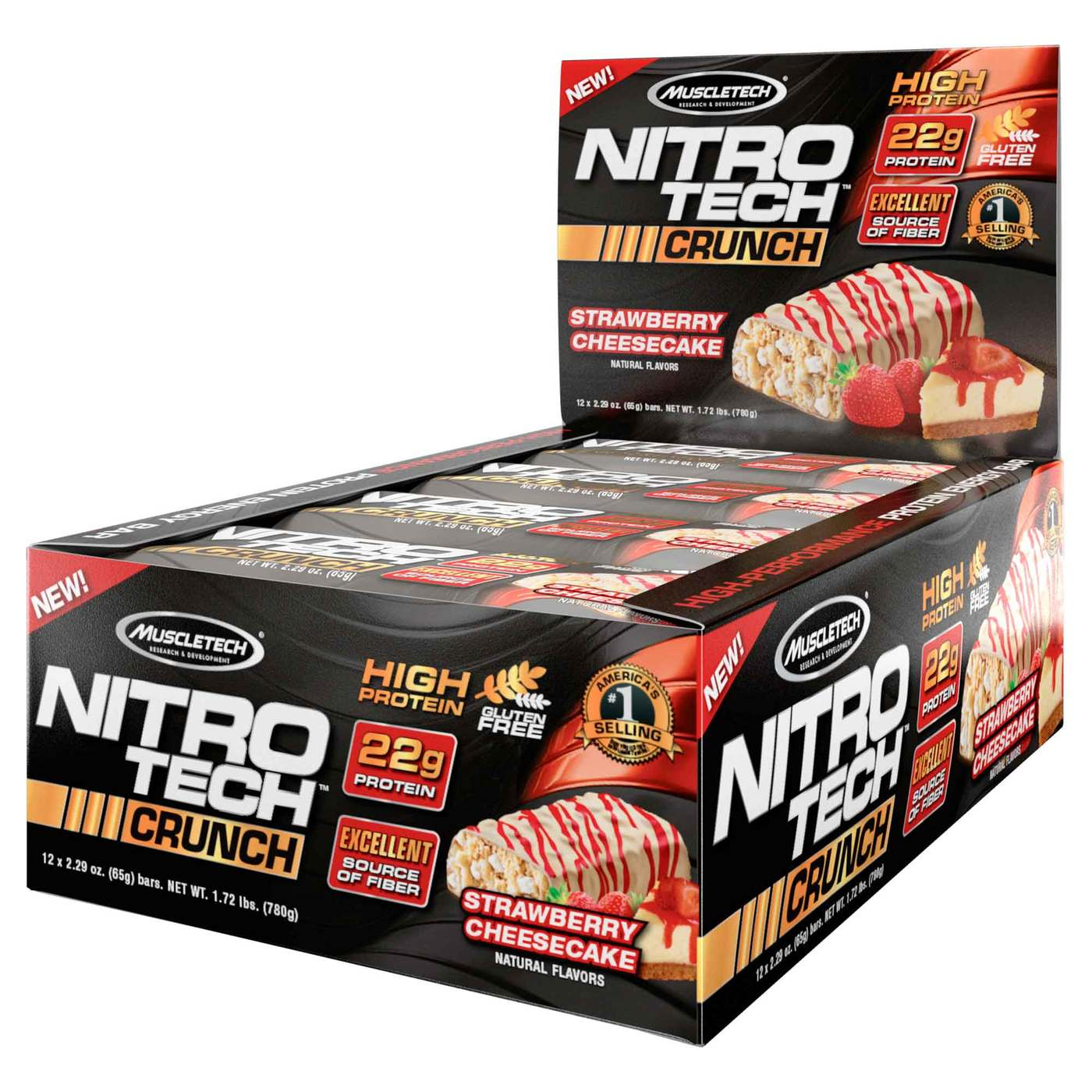 Muscletech Nitro Tech Crunch Strawberry Cheesecake 12 Pack Nitrotech 4 Lbs Hover To Zoom
