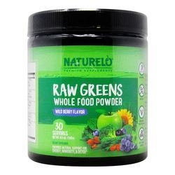 NATURELO Raw Greens Whole Food Powder Wild Berry Flavor